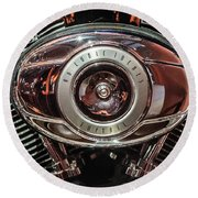 Round Beach Towel featuring the photograph 96 Cubic Inches Softail by Randy Scherkenbach