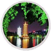 Sun And Moon Pagoda Green Leaves Round Beach Towel