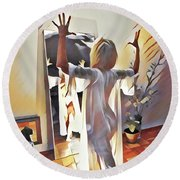 9906s-dm Woman Confronts Herself In Mirror Round Beach Towel by Chris Maher