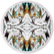 Round Beach Towel featuring the digital art 992.042212mirror2ornategoldablue-1 by Kris Haas