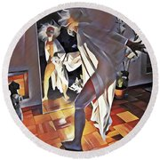9926s-dm Watercolor Woman In White Confronts Herself In Mirror Round Beach Towel by Chris Maher