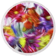 9a Abstract Expressionism Digital Painting Round Beach Towel