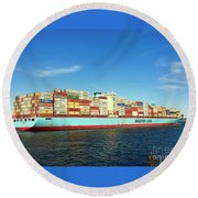 A Barge Can Be Beautiful Round Beach Towel