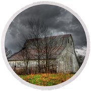 A Barn In The Storm 3 Round Beach Towel