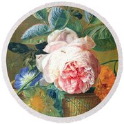 A Basket With Flowers Round Beach Towel by Jan van Huysum