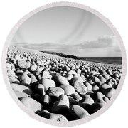 A Beach Of Stones Round Beach Towel