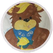 A Bear Loves Honey Round Beach Towel
