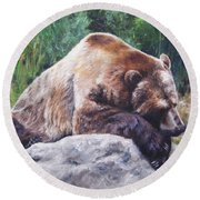 A Bear Of A Prayer Round Beach Towel