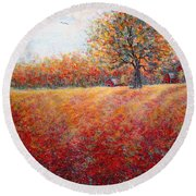Round Beach Towel featuring the painting A Beautiful Autumn Day by Natalie Holland