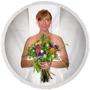 A Beautiful Backlit Bride And Her Bouquet Round Beach Towel
