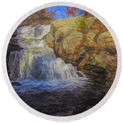 A Beautiful Connecticut Waterfall. Round Beach Towel