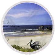 Round Beach Towel featuring the photograph A Beautiful Day At Face Rock At Coastal Oregon by Diane Schuster