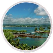 A Beautiful Day Over Hilo Bay Round Beach Towel