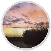 A Beautiful Morning Sky At 06:30 This Round Beach Towel