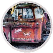A Beautiful Rusty Old Tow Truck Round Beach Towel
