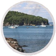 A Beautiful View Of Bar Harbor Round Beach Towel