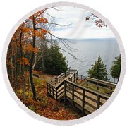 Round Beach Towel featuring the photograph A Beautiful Walk by Greta Larson Photography
