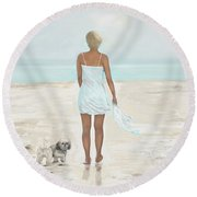 Round Beach Towel featuring the painting A Beautiful Walk by Leslie Allen