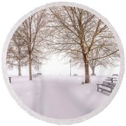 Round Beach Towel featuring the photograph A Beautiful Winter's Morning  by John Poon