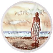 Round Beach Towel featuring the digital art A Beautiful World by Pennie McCracken