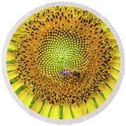A Bee On A Sunflower Round Beach Towel