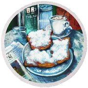 A Beignet Morning Round Beach Towel