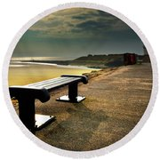 A Bench By The Sea Round Beach Towel