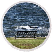 Round Beach Towel featuring the photograph A Bench By The Sea by Tom Prendergast