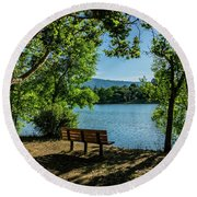 A Bench Overlooking Vasona Lake Round Beach Towel