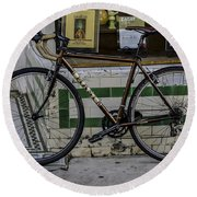 A Bicycle In The French Quarter, New Orleans, Louisiana Round Beach Towel