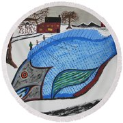 A Big Fish Tale Round Beach Towel
