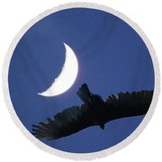 A Bird And The New Moon Round Beach Towel