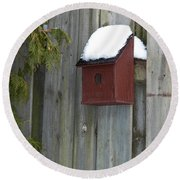 A Birdhouse To Live In Round Beach Towel