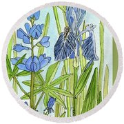 Round Beach Towel featuring the painting A Blue Garden by Laurie Rohner