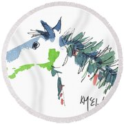 A Blue Roan Horse Watercolor Painting By Kmcelwaine Round Beach Towel