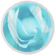 A Blue Rose - Romantic Abstract Art Round Beach Towel