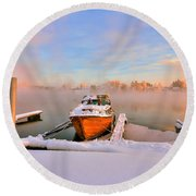 Round Beach Towel featuring the photograph  Boat On Frozen Lake by Rose-Maries Pictures