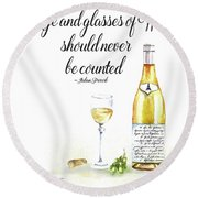 A Bottle Of White Wine Round Beach Towel by Colleen Taylor