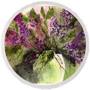 A Bouquet Of May-lilacs Round Beach Towel