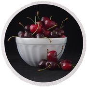 A Bowl Full Of Cherries Round Beach Towel