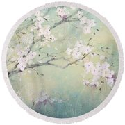 Round Beach Towel featuring the painting A Breath Of Spring by Laura Lee Zanghetti