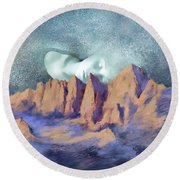 Round Beach Towel featuring the painting A Breath Of Tranquility by Sgn