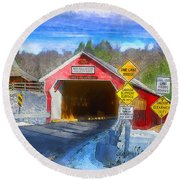 A Bridge From Now To Then Round Beach Towel