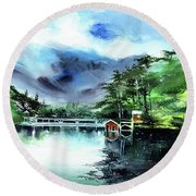 Round Beach Towel featuring the painting A Bridge Not Too Far by Anil Nene