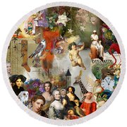 Round Beach Towel featuring the digital art A Brief History Of Women And Dreams by Nola Lee Kelsey
