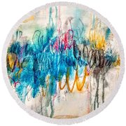 Round Beach Towel featuring the painting A Broken Love Story Fabio And The Goddess by Tracy Bonin