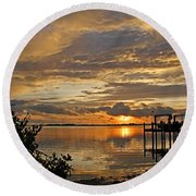 Round Beach Towel featuring the photograph A Brooding Sunset Sky by HH Photography of Florida