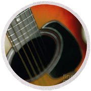 Round Beach Towel featuring the photograph  Guitar  Acoustic Close Up by Bruce Stanfield