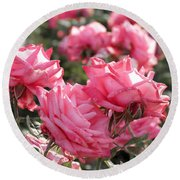 Round Beach Towel featuring the photograph A Bunch Of Pink by Laurel Powell