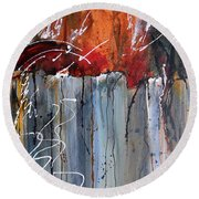 Round Beach Towel featuring the painting A Burning Issue by Nancy Jolley
